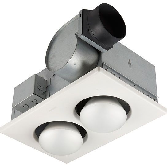Broan 164 UL Listed Ventilation Bathroom Fan with 2-Bulb Infrared Heater Light