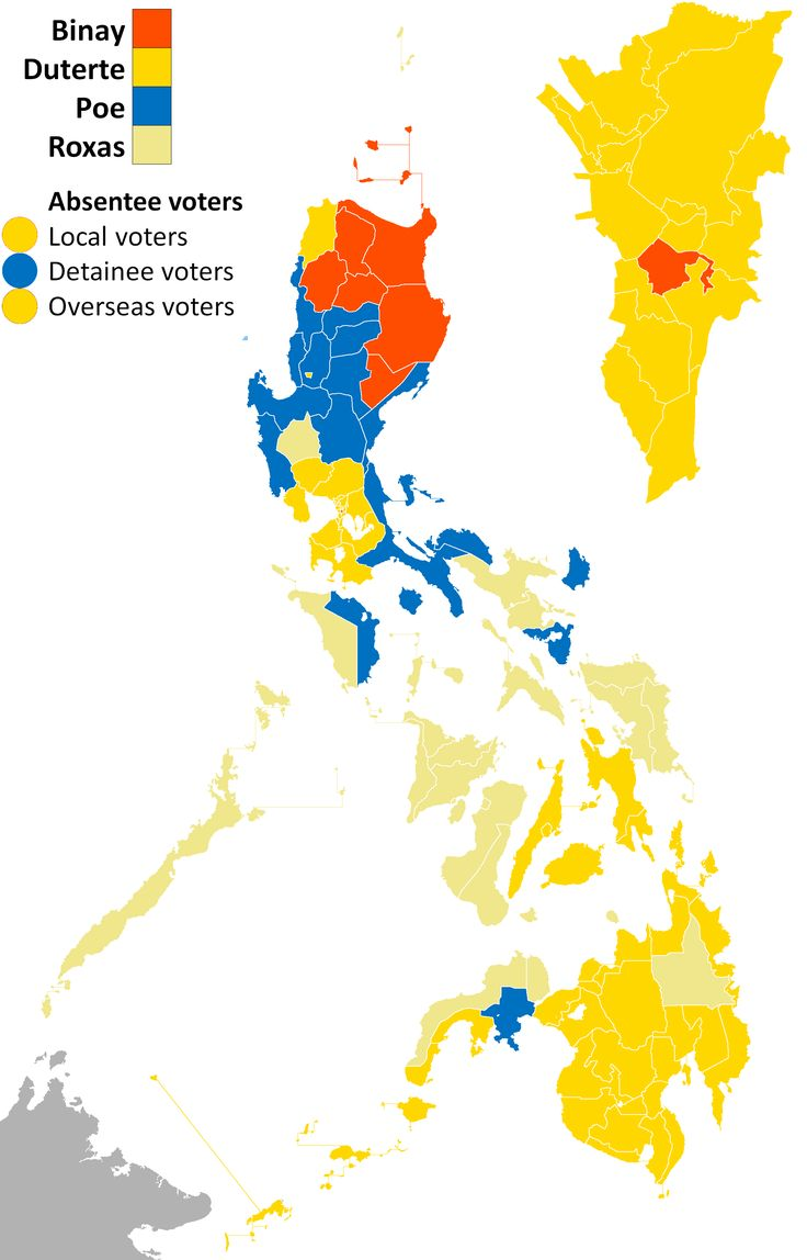 2016 Philippine presidential election results per province