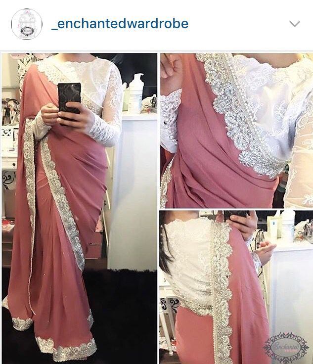 Dusty rose saree with a white lace border. In LOVE. Screams vintage and elegant at the same time. The blouse is to DIE for.