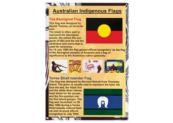 Australian Indigenous Flags Poster. This A3 laminated poster features the Aboriginal and Torres Strait Island flags.