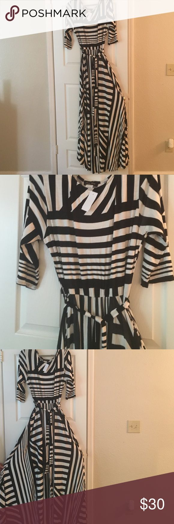 G Stage black and white striped flowy maxi dress Black and white striped maxi dress with elastic waist and matching belt. This is junior plus 3x but fits more like a 1x or 2x. gstage Dresses Maxi