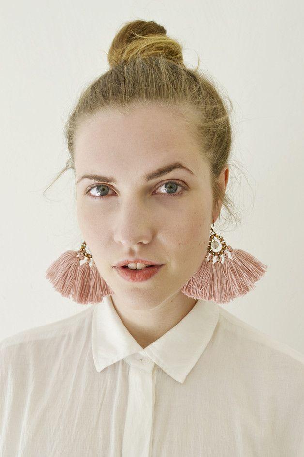 Stoffen oorbellen - Rosa Statement Quasten Ohrringe - Een uniek product van gudbling op DaWanda
