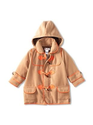 67% OFF Hippototamus Boy's Duffle Coat with Removable Hood (Camel/Orange Trim)