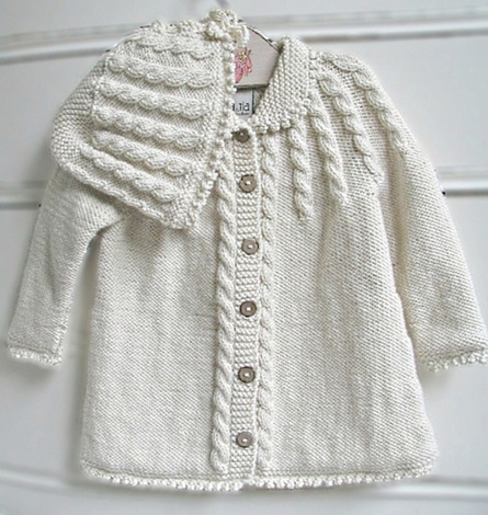 organic hand-knit coat and hat
