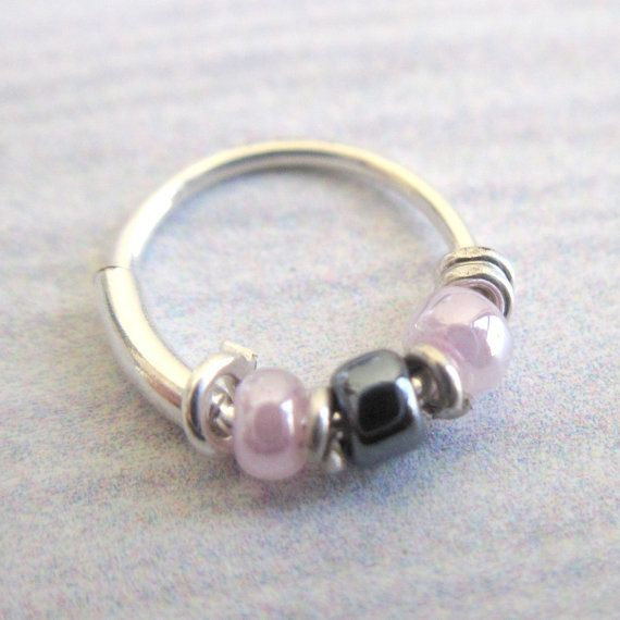 Silver Nose Ring - Silver Nose Hoop - Nose Jewelry - Nostril Hoop - Nose Piercing - Earrings For Pierced Nose - Beaded Nose Ring