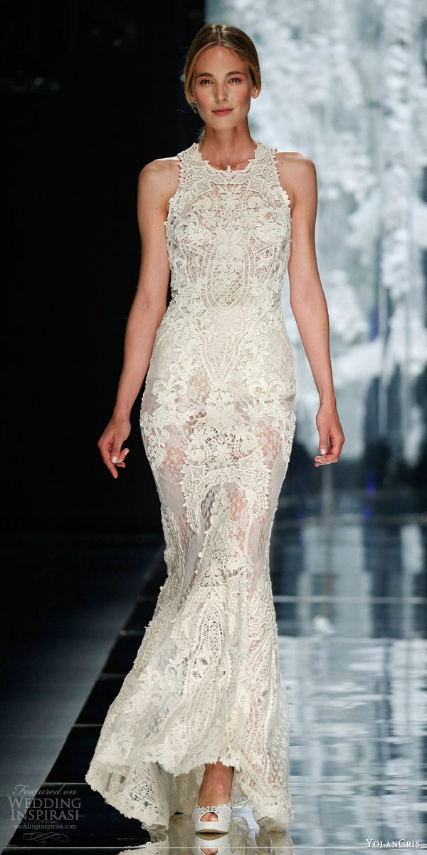 yolancris bridal 2016 urquinaona sleeveless crochet sheath wedding dress guipure appliques