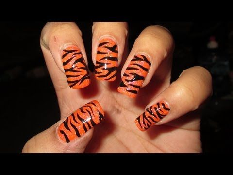 Freehand Tiger Stripes Nail Art Tutorial