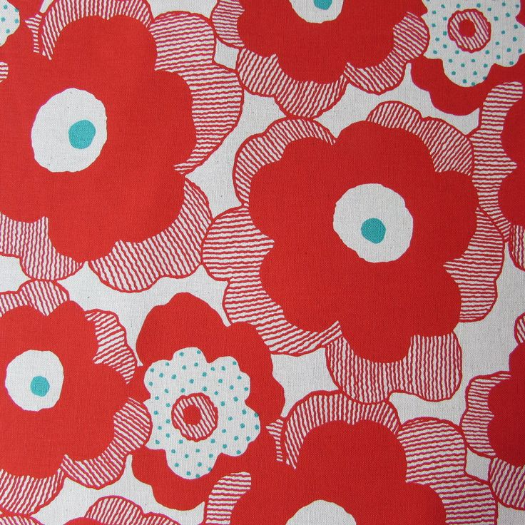 Large Flowers in Red | Project | Japanese Fabric | Cotton Canvas Fabric | UK | The Fabric Fox