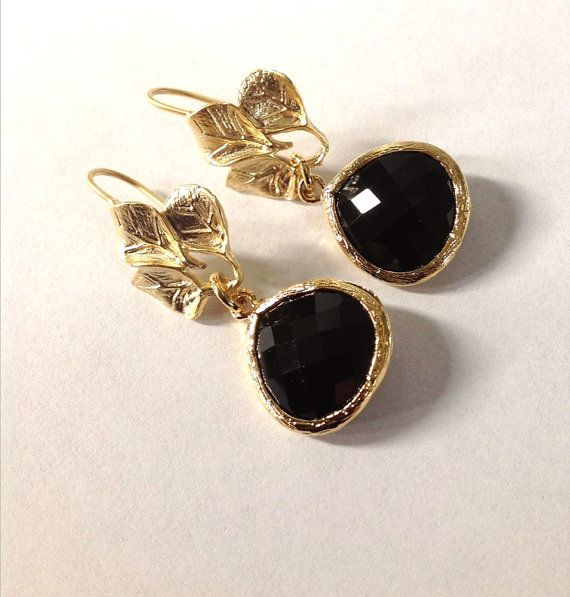 Dangle Earrings Gold and black drop glass  3 leaves earrings Bridesmaid gift, earrings leaf / Graduation gift / Valentines day gift / preppy