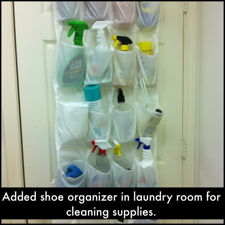 Organizing- I put one of these behind my laundry room door. Kids can't ...