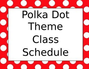 My classroom is a Mickey Mouse theme! :) I created my class schedule with a red and white polka dot theme! I put my class schedule on my whiteboard so next to each of our learning blocks is where I write our objectives for the day!