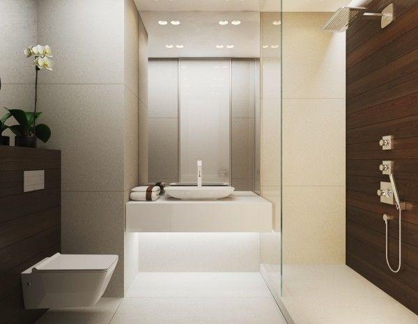 Salle de bain avec intérieur design moderne et chaleureux