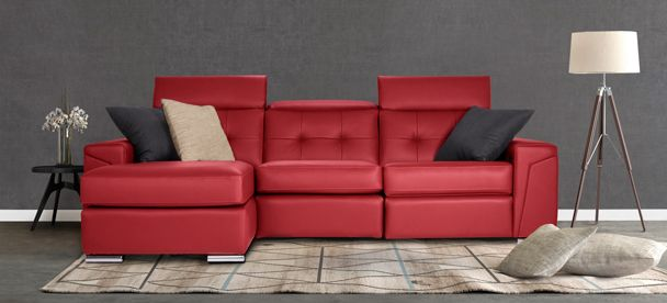 Sectional Sydney - Contemporary Style - Optima Collection ------------------------------------ Sectionnel inclinable, appui-tête ajustable, cuir rouge, plusieurs configuration disponible. Causeuse, fauteuil, salon, maison, décor, sofa, modulaire. Fait au Canada. ---------------------------------------- Sectional, recliner, adjustable headrest, red leather, choose your configuration. Loveseat, accent chair, livingroom, house, decor, sofa, modular. Made in Canada.