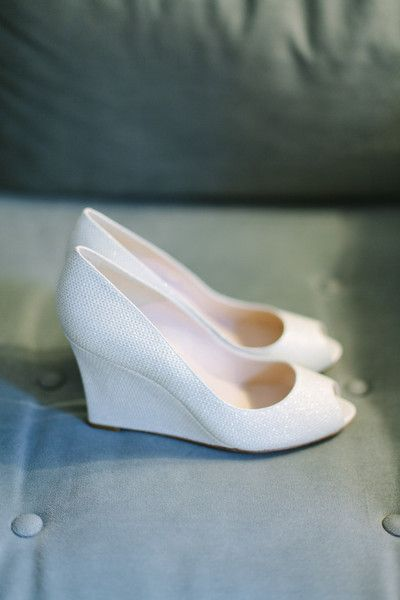 Comfortable bridal shoe idea - sparkly white peep-toe wedges {Megan Clouse Photography}