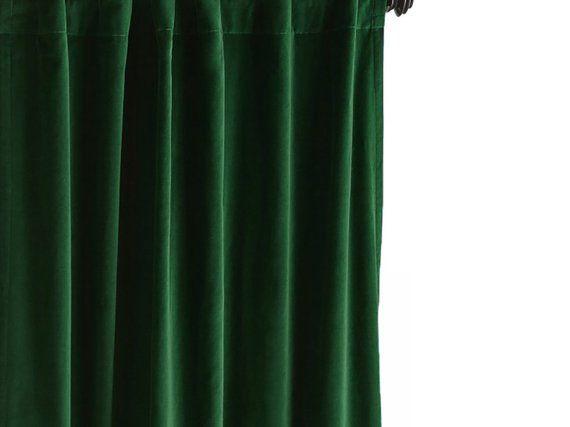 Emerald Green Curtain Cotton Velvet Curtain Velvet Curtain Panel