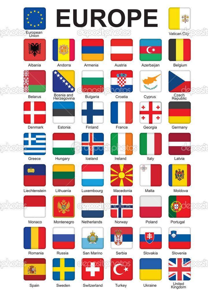 Banderas De Europa Botones Con Banderas De Europa Vector De