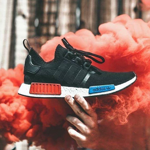 SOLD Adidas NMD R1 OG Primeknit Black Red open to Depop