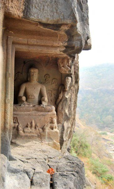 The Ajanta Caves in Aurangabad district of Maharashtra, India are about 300 rock-cut Buddhist cave monuments which date from the 2nd century BCE to about 480 or 650 CE.