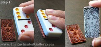 How-to Guide Rubber Stamped Domino Art Jewelry Pendants Stamp Dominoes