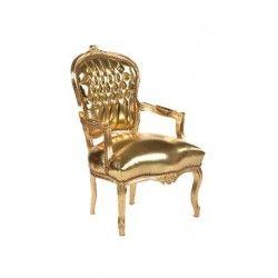 Poltrona barocco Luigi XVI tessuto oro dorato pelle