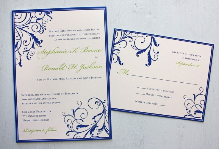 Wedding Invitation Designs Royal Blue: Royal-Blue-and-Apple-Green-Vine-Swirls-with-Border-wedding