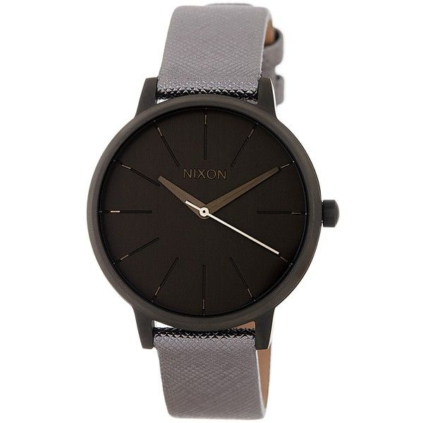 Nixon Women's Kensington Leather Strap Watch ($62) ❤ liked on Polyvore featuring jewelry, watches, gunmetal, nixon watches, nixon wrist watch, nixon jewelry, leather strap watches and water resistant watches