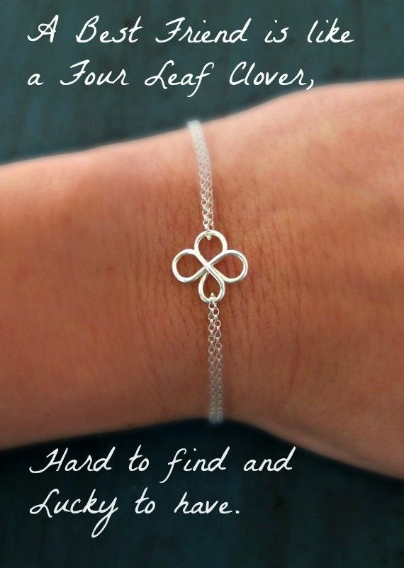 Silver Four Leaf Clover Bracelet Bridesmaid gifts Silver Friendship Bracelet sisters Gift Irish Wedding Gifts Good Will you be my bridesmaid