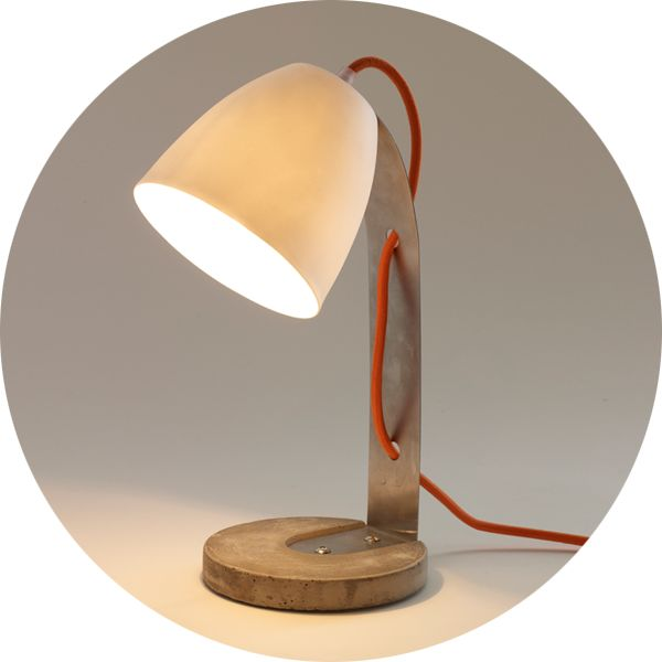 Concrete And Porcelain Table Lamp
