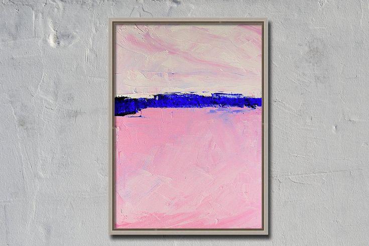 Abstrait rose, Petit original, peinture à l'huile, toile 6×8, design minimaliste, horizon bleu, moderne, contemporain   – Happy Pinning