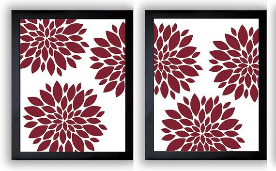 INSTANT DOWNLOAD Red Burgundy Dahlia Flower Set of 2 Printable Abstract Art Flower Print Wall Decor Modern Bathroom Bedroom Minimalist