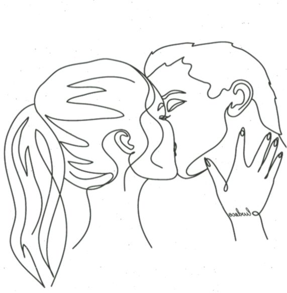 custom portrait couple portrait Kiss print Valentines Day gift for her Custom one line portrait drawing couple line art