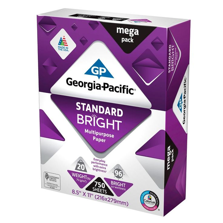 Georgia Pacific Printer Paper Letter Size 20lb Standard Bright 750ct, White