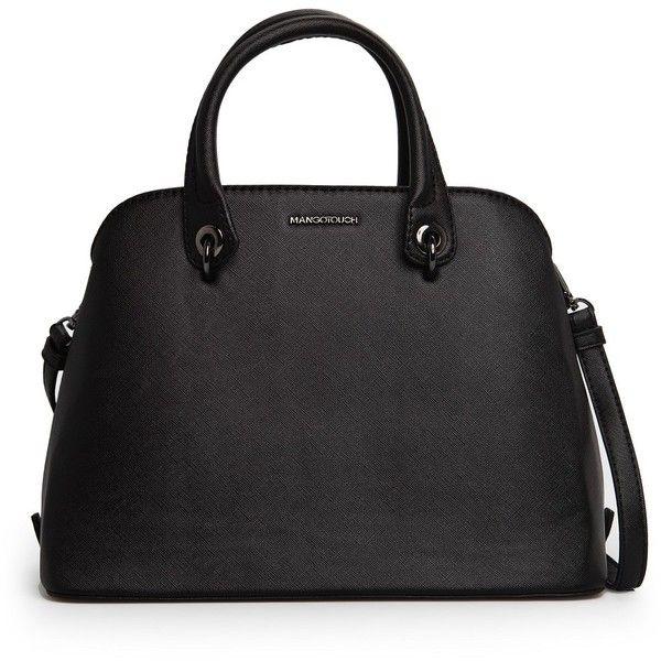Saffiano-Effect Tote Bag ($55) ❤ liked on Polyvore featuring bags, handbags, tote bags, purses, bolsos, bolsas, black, black top handle handbag, mango purse and top handle purses