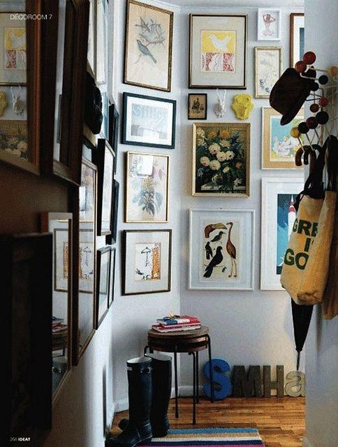 art filled corridors and entrywaysDecor, Interiors, Gallery Walls, Photos Wall, New York Apartments, Frames Art, Entryway, Art Wall, Hallways Art