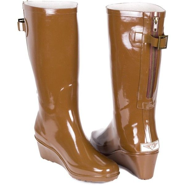 Forever Women's Rubber Rain Boots – Brown Wedge ($58) ❤ liked on Polyvore featuring shoes, boots, brown, wedge heel boots, snow boots, wellington boots, wedge boots and mid calf boots