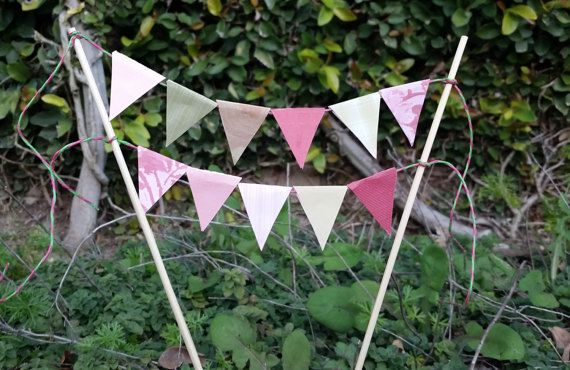 Shabby Chic Green Pink Double Line Bunting Banner Cake Topper