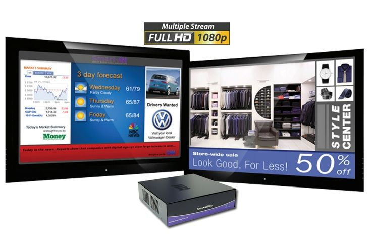 SignagePro HD servidor de video y archivos multimedia para pantallas publicitarias, multistream, proyecta hasta 4 videos simultaneos.