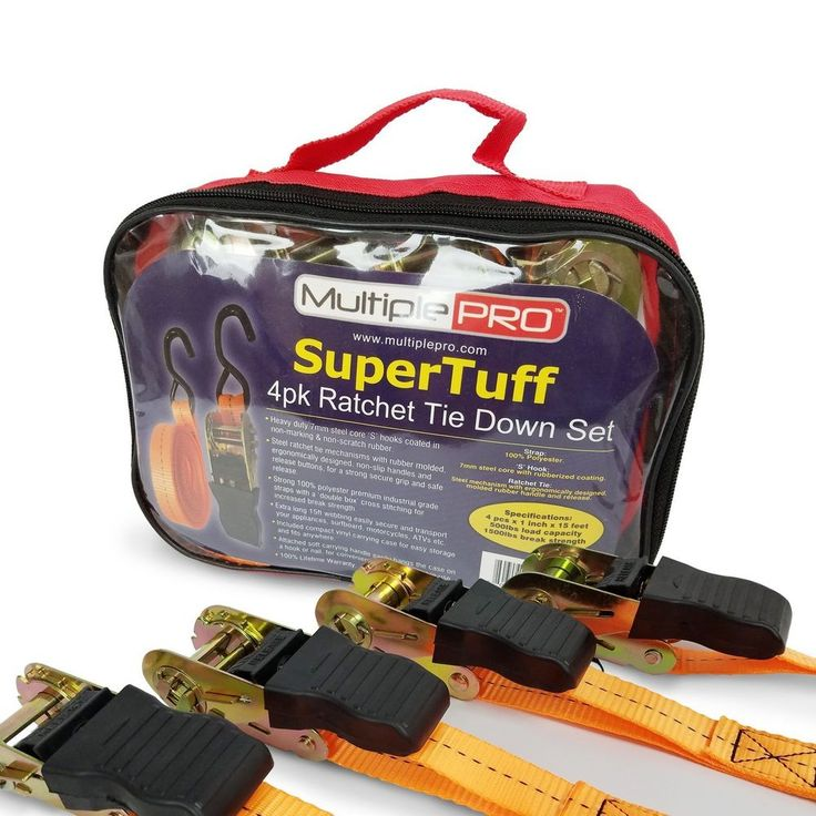 MultiplePRO SuperTuff 15ft Ratchet Tie Down Straps – 4 Pack with Heavy Duty 1, #MultiplePRO