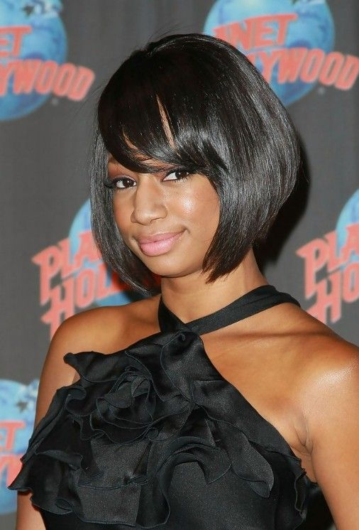 short black sleek bob hairstyle with bangs for african american monique coleman hairstyles