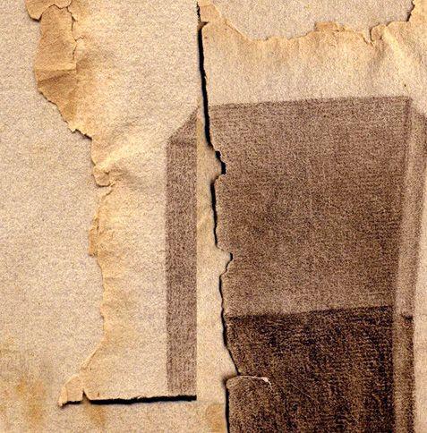 frank Rheinboldt 2006 Drawing on old paper (Assemblage)
