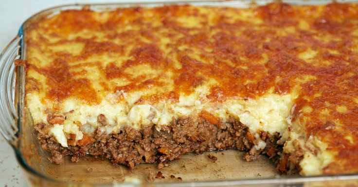 Classic Cottage Pie with potatoes, sour cream cheese, hamburger, veggies, beef broth, 1/2 & 1/2, etc.