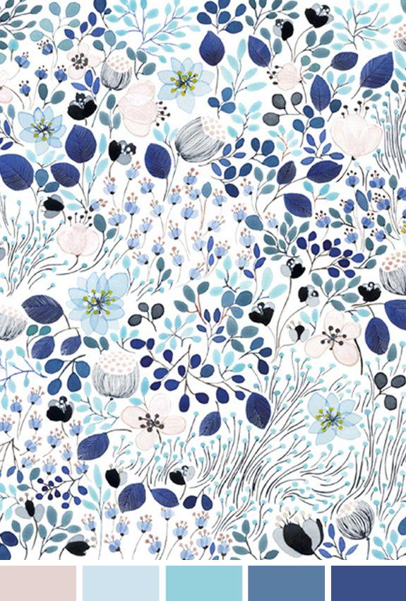 Hoje o dia amanheceu chuvoso e cinza e me fez lembrar de uma estampa linda criada pela artista Anna Emilia. A pintura Frost Garden veio de uma inspriação em um dia de inverno, mas a cartela de cores em tons de azul com rosa pastel está tão linda para um look de verão...! Quero as cores na miha produção de hoje e a estampa enquadrada na minha parede! Bom dia!
