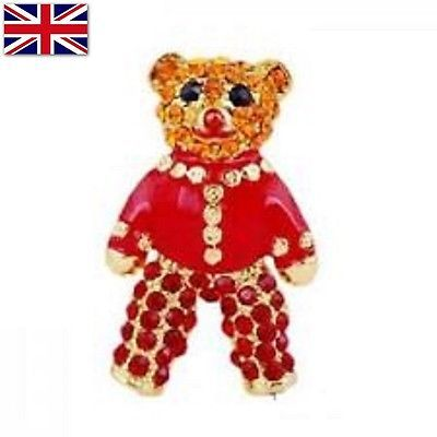 #Vintage #diamante crystal brooch pin red teddy bear alloy gold #badge rhinestone,  View more on the LINK: http://www.zeppy.io/product/gb/2/272379814343/