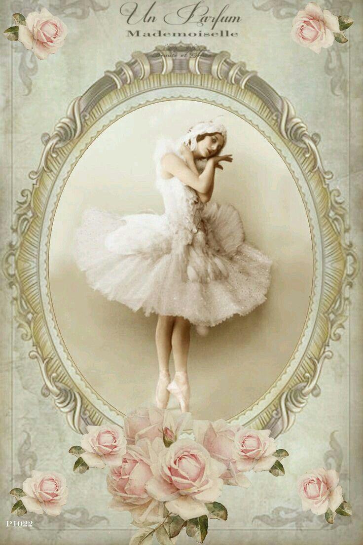 картинки для декупажа балерины винтаж зелень густым облаком