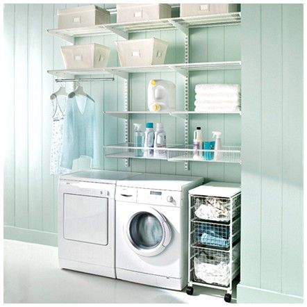 Mint colored laundry room - this is what i want to do with our laundry room