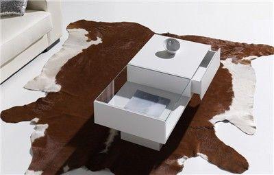 MESA DE SALÓN BOX CON CAJÓN Mesa de centro con revistero de cristal y cajón extraíble