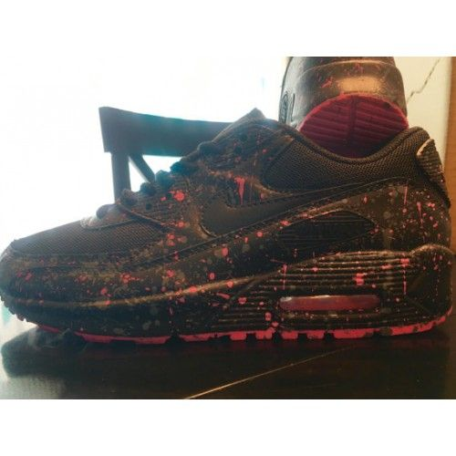 Cheap Nike Air Max 90 Spray Painting Pink Black Womens Custom Shoes & Trainers Sale UK