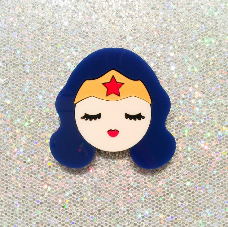 FW15 Costume Party - I Need A Hero / Wonderwoman - layered acrylic brooch (Valley of The Dolls series) (33.20 USD) by Baccurelli