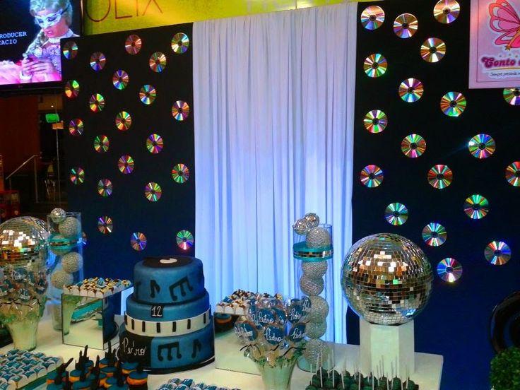 Decoração Festa Infantil : Decoração Balada Branco, Azul e Preto