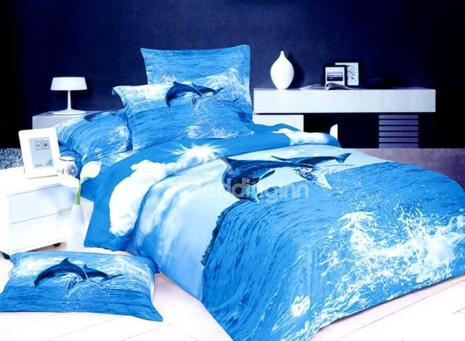 Strong And Vigorous Dolphin Print 4 Piece Cotton Bedding